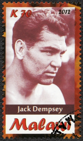 Malawi - CIRCA 2012: A stamp printed in Malawi shows Jack Dempsey, circa 2012