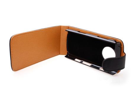 holster: Mobile phone case on white background