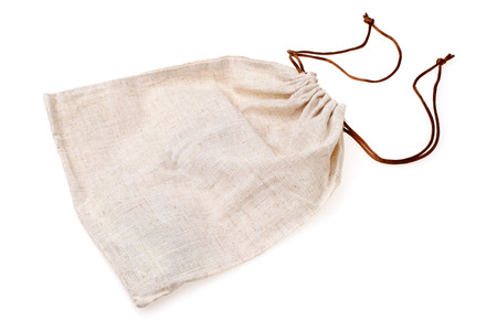 cotton thread: Empty burlap pouch on white background Stock Photo