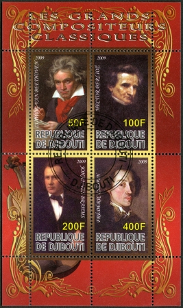 DJIBOUTI - CIRCA 2009: A stamp printed in Republic of Djibouti shows Ludwig van Beethoven (1770-1827), Johannes Brahms (1833-1897), Hector Berlioz (1803-1869) and Franz Liszt (1811-1886), circa 2009 Editorial