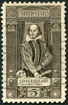 UNITED STATES OF AMERICA - CIRCA 1964  A stamp printed in USA shows William Shakespeare  1564-1616 , 400th birth anniversary, circa 1964