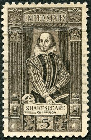 UNITED STATES OF AMERICA - CIRCA 1964  A stamp printed in USA shows William Shakespeare  1564-1616 , 400th birth anniversary, circa 1964 Stock Photo - 24707227