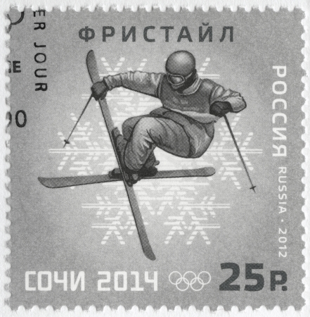 olympic symbol: RUSSIA - CIRCA 2012: A stamp printed in Russia shows XXII Olympic Winter Games in Sochi 2014, Olympic winter Sports, freestyle, circa 2012 Editorial