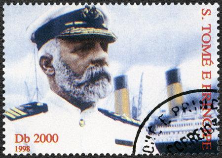 smith: ST. THOMAS AND PRINCE ISLANDS - CIRCA 1998: A stamp printed in St.Thomas and Prince Islands shows Captain Edward John Smith and Titanic, circa 1998