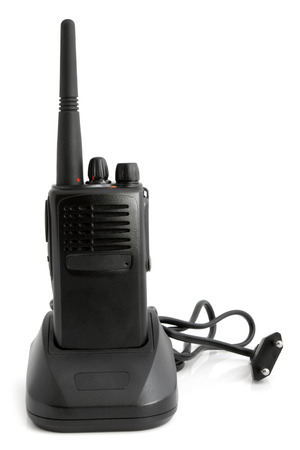 cb phone: Portable radio transmitter with charger on white background Stock Photo