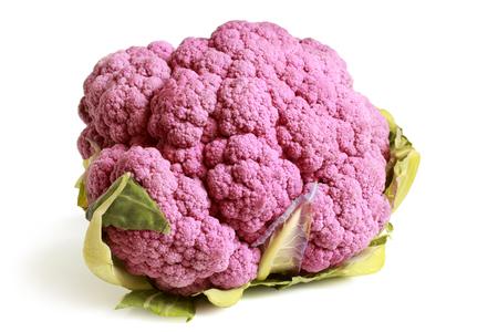 coliflor: Coliflor púrpura sobre fondo blanco
