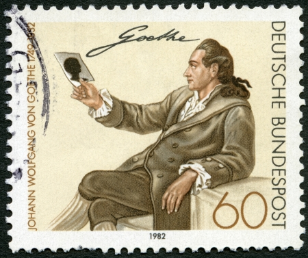melchior: GERMANY - CIRCA 1982: A stamp printed in Germany shows Johann Wolfgang von Goethe (1749-1832), by Georg Melchior Kraus, circa 1982