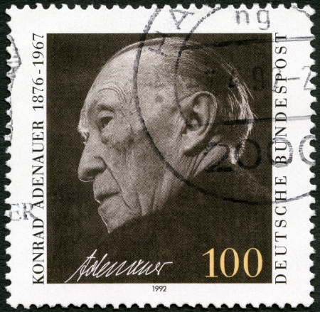 GERMANY - CIRCA 1992: A stamp printed in Germany shows Konrad Adenauer (1876-1967), circa 1992