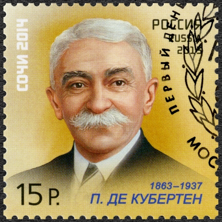 coubertin: RUSSIA - CIRCA 2013: A stamp printed in Russia shows Pierre de Coubertin (1863-1937), XXII Olympic Winter Games and XI Paralympic Games 2014 in Sochi, Sport Legends, circa 2013 Editorial