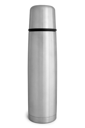 Thermo flask on white photo