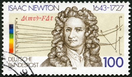 isaac newton: GERMANY - CIRCA 1993: A stamp printed in Germany shows Sir Isaac Newton (1642-1727), scientist, circa 1993 Editorial