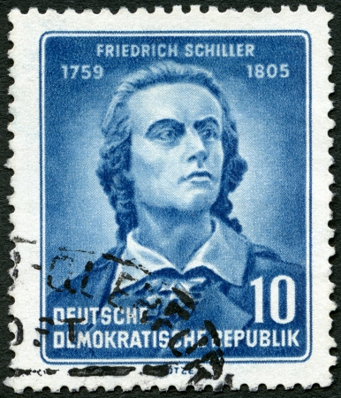 GERMANY - CIRCA 1955: A stamp printed in Germany shows Friedrich von Schiller (1759-1805), poet, 150th anniversary of the death, circa 1955
