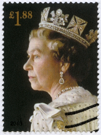 the majesty: UNITED KINGDOM - CIRCA 2013: A stamp printed in United Kingdom shows Portrait of Queen Elizabeth II, the 60th anniversary of the Coronation of Her Majesty, circa 2013