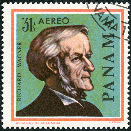 richard: PANAMA - CIRCA 1966: A stamp printed in Panama shows portrait of Richard Wagner (1813-1883), German composers, series Famous Men, circa 1966 Editorial