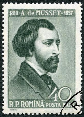 dramatist: ROMANIA - CIRCA 1960: A stamp printed in Romania shows Alfred de Musset (1810-1857), circa 1960