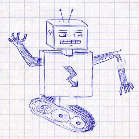 Robot. Childrens drawing in a school notebook photo