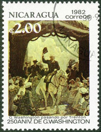 NICARAGUA - CIRCA 1982: A stamp printed in Nicaragua shows George Washington (1732-1799), Riding through Trenton, 250th birth anniversary, circa 1982