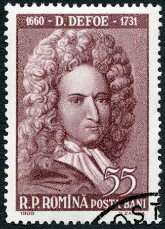 rumania: ROMANIA - CIRCA 1960: A stamp printed in Romania shows Daniel Defoe (1660-1731), circa 1960