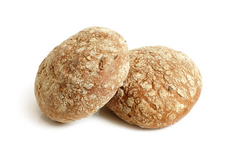 Round rye buns on white background photo