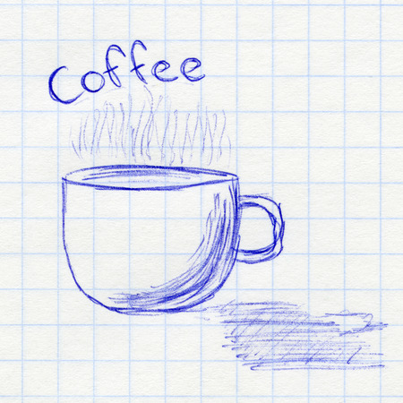 Cup of coffee. Childrens drawing in a school notebook photo
