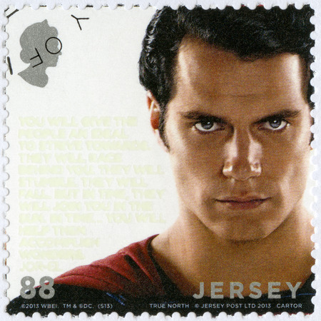 JERSEY - CIRCA 2013: A stamp printed in Jersey shows Man Of Steel, circa 2013