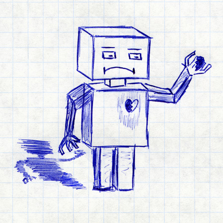 Robot with broken heart. Childrens drawing in a school notebook photo