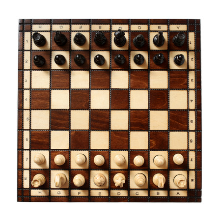 chess board: Wooden chessboard with chessmen isolated on white