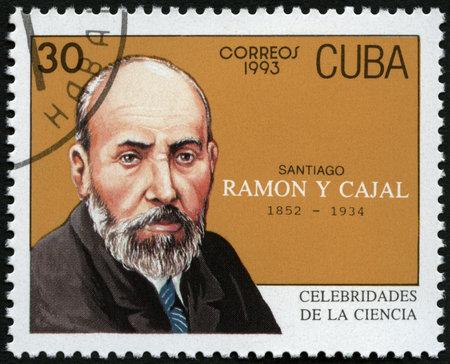 laureate: CUBA - CIRCA 1993: A stamp printed in Cuba shows portrait of Santiago Ramon y Cajal (1852-1934), histologist, circa 1993