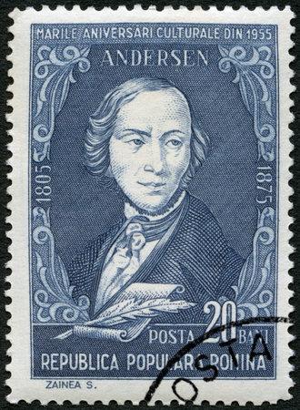 rumania: ROMANIA - CIRCA 1955: A stamp printed in Romania shows Hans Christian Andersen (1805-1875), a writer, circa 1955