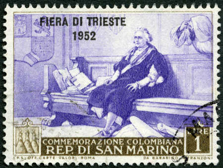 SAN MARINO - CIRCA 1952: A stamps printed in San Marino shows Christopher Columbus, circa 1952