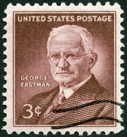 united states postal service: USA - CIRCA 1954: A stamp printed in United States of America shows George Eastman (1854-1932), Inventor and Philanthropist, circa 1954