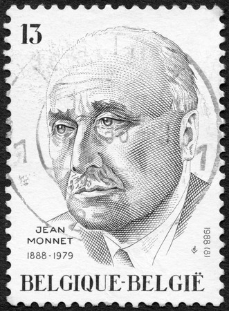 cancellation: BELGIUM - CIRCA 1988: A stamp printed in Belgium shows Jean Monnet (1888-1979), French Economist,  circa 1988 Editorial