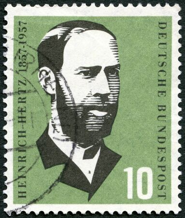 hertz: GERMANY - CIRCA 1957: A stamp printed in Germany shows Heinrich Hertz (1857-1894), physicist, birth century, circa 1957 Editorial