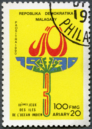 olympic sports: MALAGASY REPUBLIC - CIRCA 1990: A stamp printed in Malagasy Republic (Madagascar) dedicated 3rd Indian Ocean Games, circa 1990 Editorial
