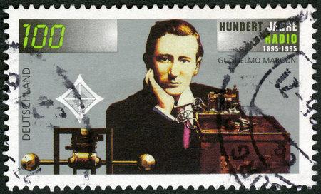 telegraphy: GERMANY- CIRCA 1995: A stamp printed in Germany shows Guglielmo Marconi (1874-1937), wireless apparatus, Radio century, circa 1995
