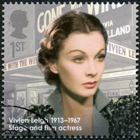 canceled: UNITED KINGDOM - CIRCA 2013: A stamp printed in United Kingdom shows actress Vivien Leigh (1913-1967), actress, series Great Britons, circa 2013