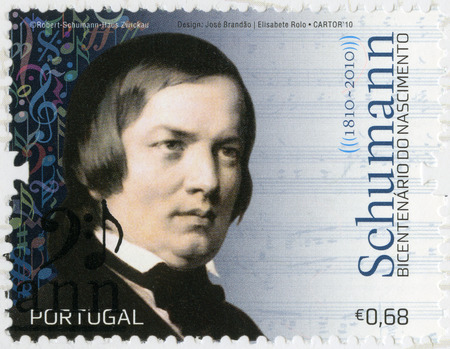 virtuoso: PORTUGAL - CIRCA 2010: A stamp printed in Portugal shows Robert Schumann (1840-1893), composer and virtuoso pianist, circa 2010