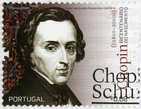virtuoso: PORTUGAL - CIRCA 2010: A stamp printed in Portugal shows Frederic Chopin (1810-1849), composer and virtuoso pianist, circa 2010
