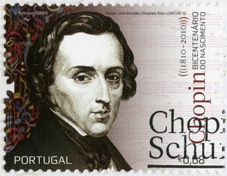 frederic: PORTUGAL - CIRCA 2010: Un sello impreso en Portugal muestra Frederic Chopin (1810-1849), compositor y virtuoso del piano, alrededor del a�o 2010 Editorial