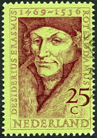 theologian: NETHERLANDS - CIRCA 1969: A stamp printed in Netherlands shows Desiderius Erasmus (1469-1536), scholar, circa 1969