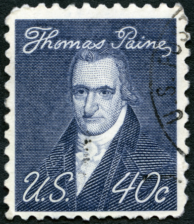 USA - CIRCA 1969: A stamp printed in USA shows portrait of Thomas Paine (1737-1809), by John Wesley Jarvis, Prominent Americans Issue, circa 1969