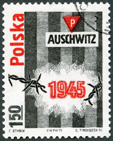 oswiecim: POLAND - CIRCA 1975: A stamp printed in Poland devoted 30th anniversary of the liberation of Auschwitz (Oswiecim) concentration camp, circa 1975 Editorial