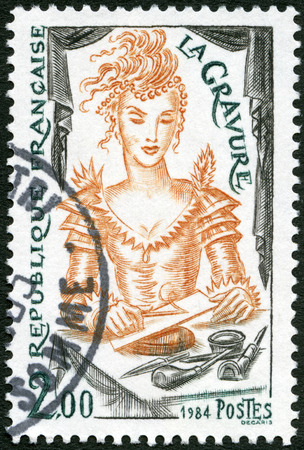 FRANCE - CIRCA 1984: A stamp printed in France shows Engraving, circa 1984