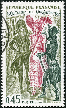 fop: FRANCE - CIRCA 1972: A stamp printed in France shows Incroyables and Merveilleuses, circa 1972