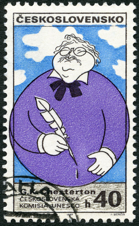 gilbert: CZECHOSLOVAKIA - CIRCA 1969: A stamp printed in Czechoslovakia shows portrait of Gilbert K. Chesterton (1874-1936), English writer, series Cultural personalities of the 20th centenary and UNESCO, circa 1969