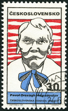 dramatist: CZECHOSLOVAKIA - CIRCA 1969: A stamp printed in Czechoslovakia shows portrait of Pavol Orszagh Hviezdoslav (1849-1921), Slovak writer, series Cultural personalities of the 20th centenary and UNESCO, circa 1969