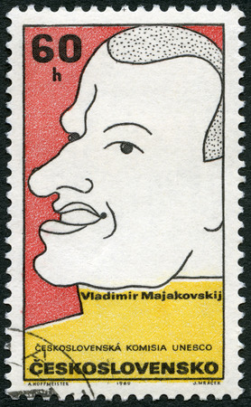 czechoslovakia: CZECHOSLOVAKIA - CIRCA 1969: A stamp printed in Czechoslovakia shows portrait of Vladimir Mayakovsky (1893-1930), Russian poet, series Cultural personalities of the 20th centenary and UNESCO, circa 1969  Editorial