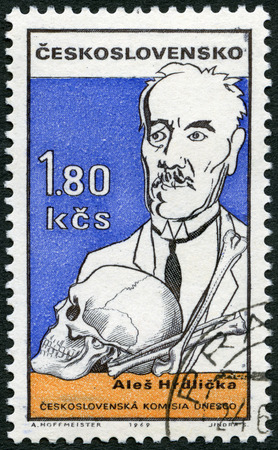 CZECHOSLOVAKIA - CIRCA 1969: A stamp printed in Czechoslovakia shows portrait of Ales Hrdlicka (1869-1943), Czech-born American anthropologist, series Cultural personalities of the 20th centenary and UNESCO, circa 1969