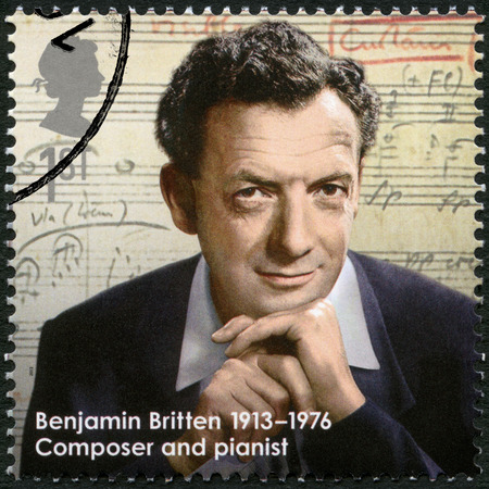 postmail: UNITED KINGDOM - CIRCA 2013: A stamp printed in United Kingdom shows Benjamin Britten (1913-1976), composer, series Great Britons, circa 2013
