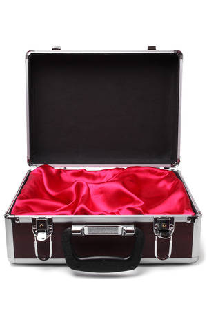 Open padded aluminum briefcase on white background photo